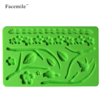 Leaves Pattern Silicone Embossing Impression Cake Cookie Biscuit Cream Candy Fondant Mould Cake Decoration Baking Tool