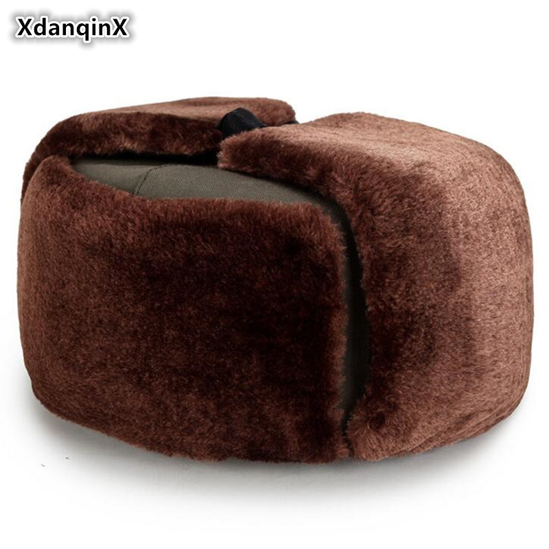 XdanqinX 2019 Winter New Warm Earmuffs Hat Men's Riding Bomber Hats Velvet Thicker Men Flat Cap Dad Fur Ski Caps For Middle-aged(China)