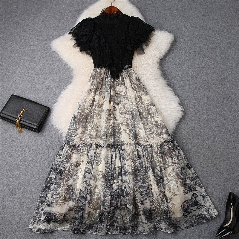 Brand Fashion Runway Long Dress Women 2019 Summer Style Elegant Lace Patchwork Ruffles Vintage Print Maxi