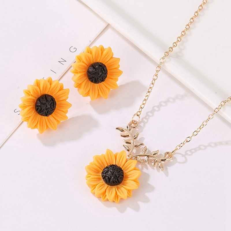 Moda delikatne słonecznika wisiorek naszyjnik dla kobiet kreatywny naszyjnik z imitacji perły biżuteria akcesoria odzieżowe