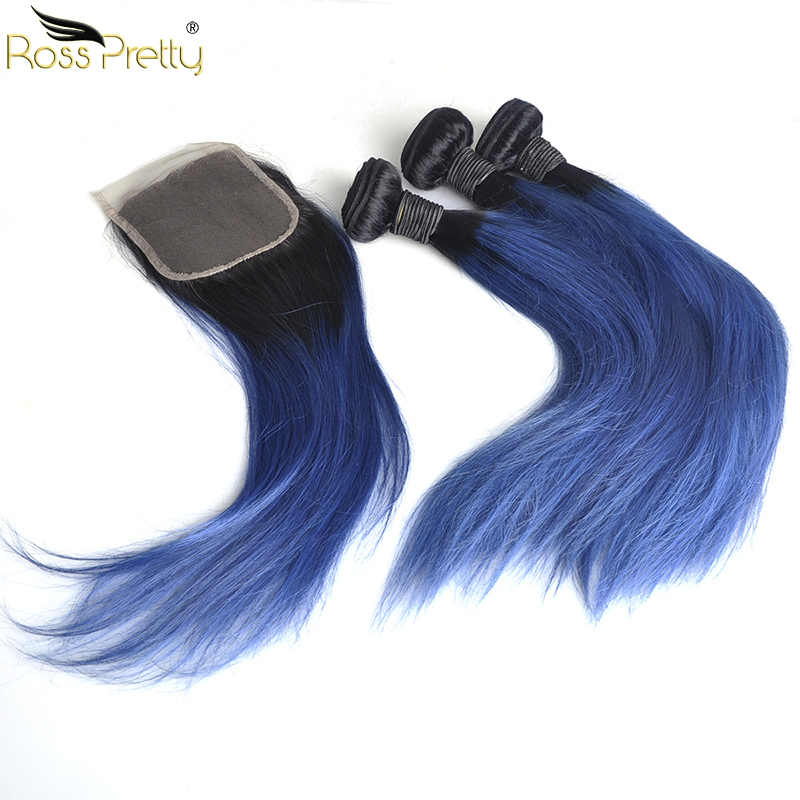 Ross Pretty Ombre Color 1b Blue Remy Human Hair Bundles With Closure Brazilian Straight Hair Weave With Lace Closure