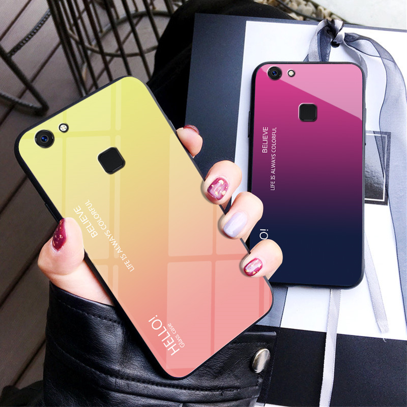 Tempered Glass Case for vivo v7 Gradient Color Hard Back Cover for VIVO V7 Soft Silicone Bumper For vivo v7 Case in Fitted Cases from Cellphones Telecommunications