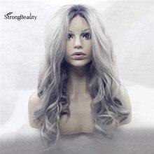 Strongbeauty длинные волнистые серый парик Синтетические Ombre черного до серебристый/серый кружева спереди два тона парик для черные женские