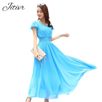 2017 Summer Women S Dress With Chiffon Solid Fashion Clothing Bohemian Dress Hight Quality V Neck