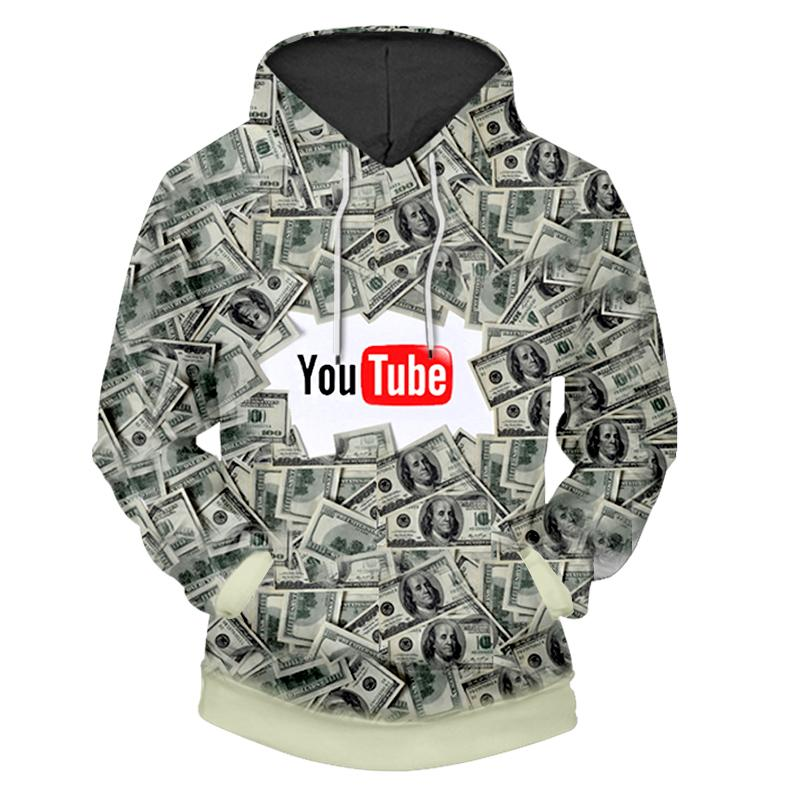 2018 Youtube Design 3d Print Dollar Hoodies Sweatshirt Polyester MenWomen Hooded Sudaderas Hombre Clothing Tracksuit CD50