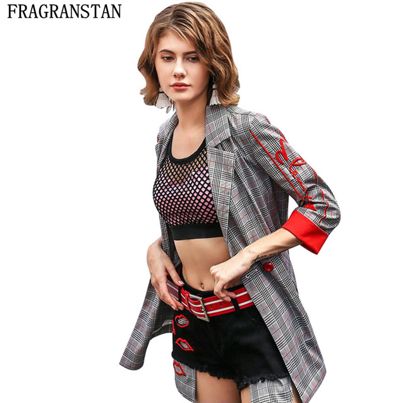 2019 Women Spring Summer New Fashion Embroidery Plaid Suit Coat Ladies Casual Loose Outerwear Three Quarter