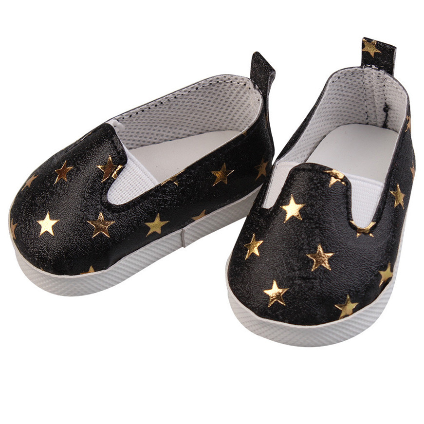 Baby Born Cool Fashion Glitter Doll Shoes Star Dress Shoe For 18 inch Our Generation American Girl Doll Clothes Toy american girl doll clothes superman and spider man cosplay costume doll clothes for 18 inch dolls baby doll accessories d 3