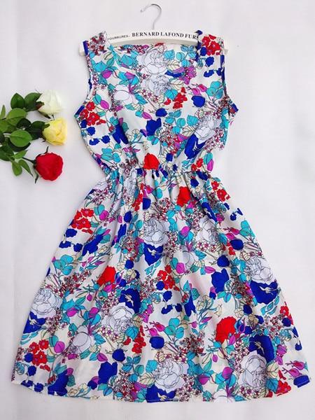 CDJLFH New Bohemian Floral Dresses Sleeveless Round Neck Vest Printed Beach Summer Autumn Plus Size 2017 Chiffon Dress Femininas