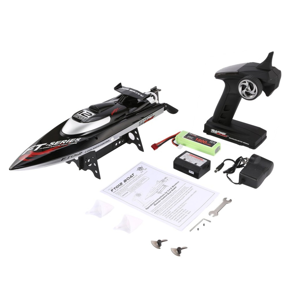 RC Boat Feilun FT012 2.4G 45km/h High Speed Racing Boat Speedboat Ship with Brushless Motor Water Cooling System Flipped RTR h625 pnp spike fiber glass electric racing speed boat deep vee rc boat w 3350kv brushless motor 90a esc servo green