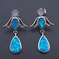 100% 925 Sterling Silver Fine Jewelry Drop Earrings with Blue Fire Opal For Party Women Jewelry Earrings