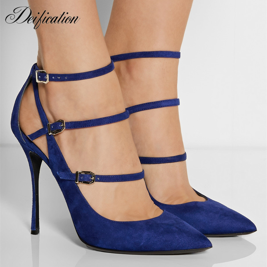 Chaussures Femme Ladies Runway Shoes Cow Suede Sexy Cut Out High Heels Pointy Toe Three Buckle Straps Party Wedding