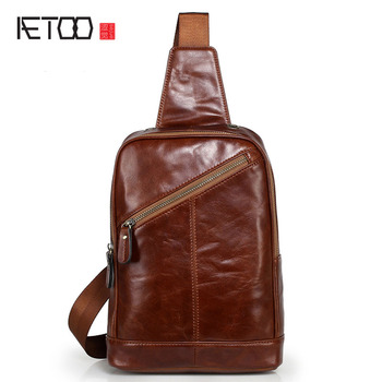More Review AETOO Casual leather men bag wholesale first layer of leather  men s chest bag Messenger bag a4a19f2772b20