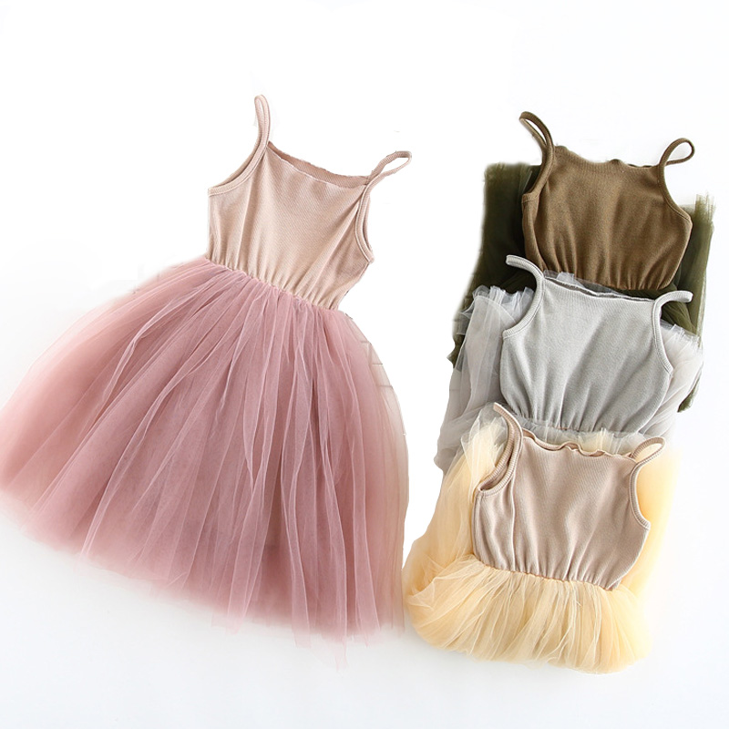 2017 New Baby Girls Sling Ball Dresses Knit Cotton Mesh Vest Ballet Tutu Dress Summer Girl Party Vestidos 2-9Years DQ360 new girls ballet costumes sleeveless leotards dance dress ballet tutu gymnastics leotard acrobatics dancewear dress