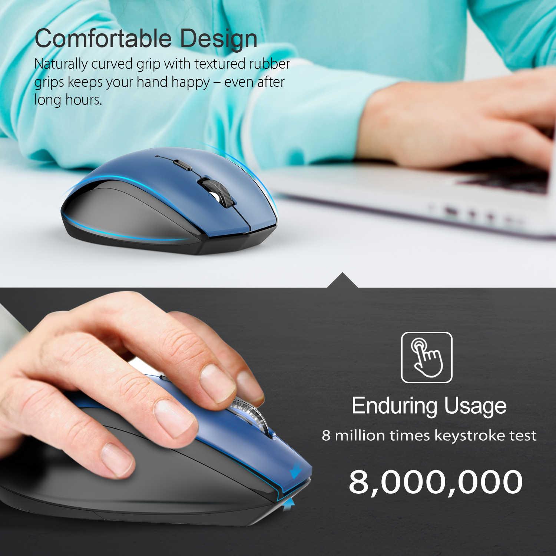 TeckNet ワイヤレス光学式マウス 2.4 Ghz の USB ナノレシーバーマウス 2400 DPI 人間工学マウスコンピュータマウスブルー Pc のラップトップデスクトップ
