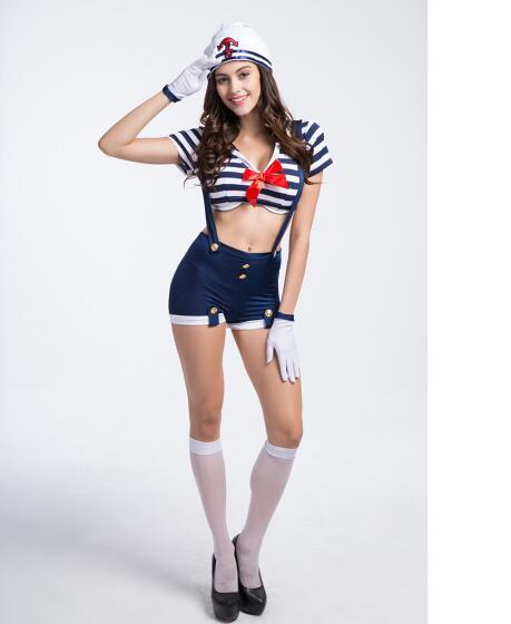 Костюм Моряка Для женщин темно-костюм карнавальный костюм Для женщин для Хэллоуина Косплэй вечерние шоу на сцене темно-Костюмы