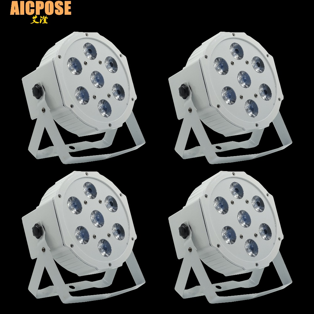 4pcs/lots 7*12w Ultra Bright Slim Flat White Led Par Light 7x12W Smooth RGBW Color Mixing DMX 4/8 Channels Stage Wash
