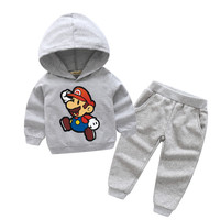 2018 Boy Girls New Cartoon Mario Print Hooded Coat Sets Children Spring Outdoor Sport Suits For