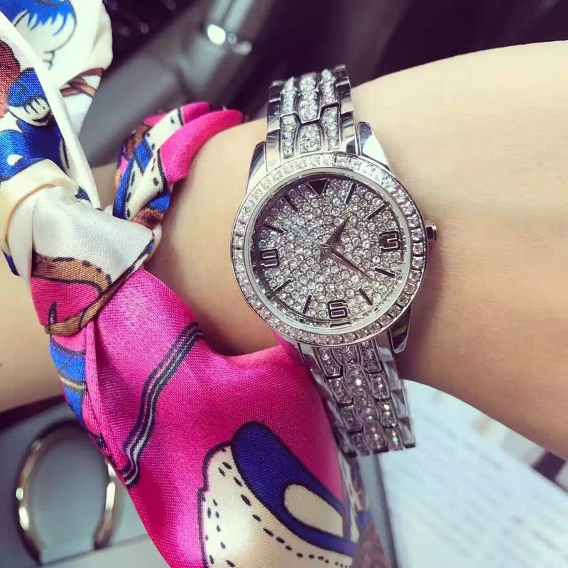 2016 Women Rhinestone Watches Rose Gold Dress Watches Full Diamond Crystal Women s Luxury Watches Female