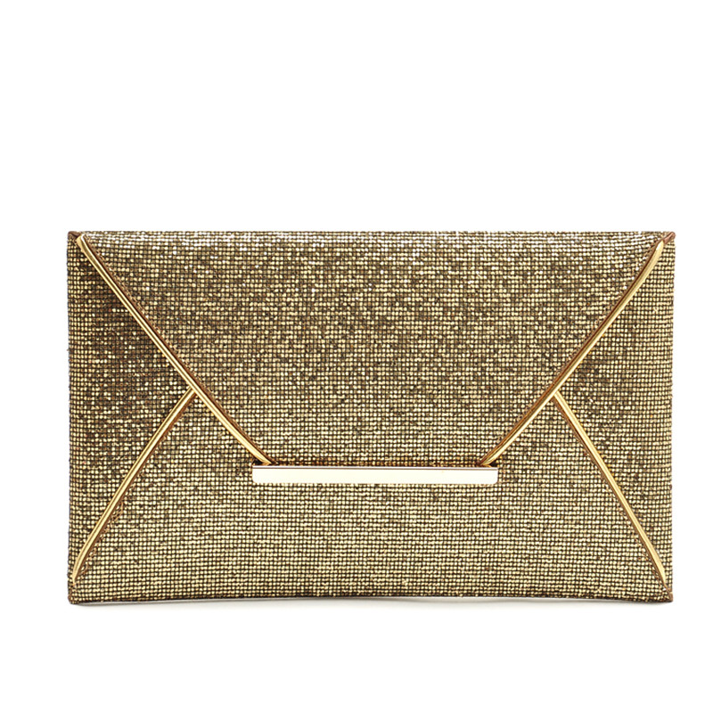 AUHWONE 2017 Luxury Shiny Hand Bags Envelope Clutch Bag Glitter Ladies Wedding Evening Bags For Women Party Purse Golden Handbag bags for women 2017 ladies cheap handbags crocodile silver clutch envelope evening purse leather shoulder woman clutch hand bag