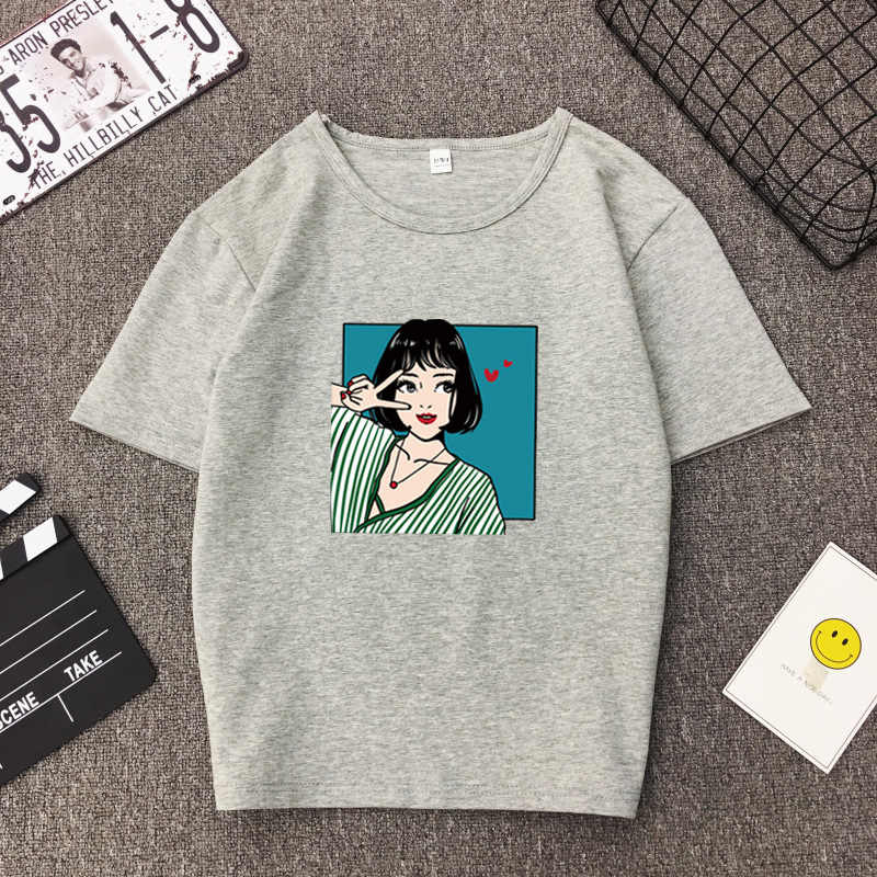 ac8c840a642 ... Kawaii girl print T-shirt Summer casual short-sleeve simple Female top  tee Korean ...