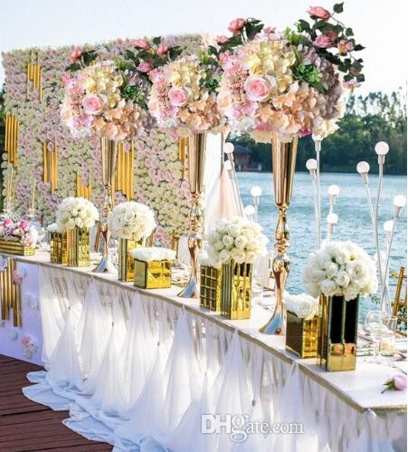 <font><b>90</b></font> CM Height Silver gold Sparking Gold Wedding flower vase Table Centerpieces Flower Stand Wedding decoration image