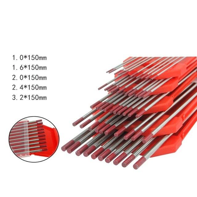 10 pcs/lot Électrode De Tungstène Tungstène Tig Aiguille/Tige 1.0 1.6 2.0 2.4 3.2mm pour Machine À Souder/soudage par points 175mm Pointe Rouge
