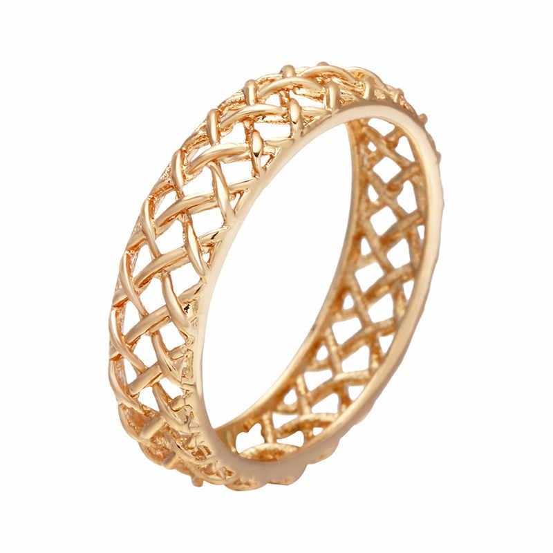QIAMNI الذهب اللون زهرة تكويم البنصر الزفاف المرأة كوكتيل الجوف هندسية تو القدم الدائري مجوهرات الحفلات باجو فام