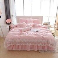 100% Cotton Korean style lace Bedding set girls Bedding Queen/King Duvet Cover Set Bed Skirt 4/6/8pcs