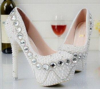 Custom made Elegant High Heels Beaded Bridal Pearl Crystal Beaded lady's formal shoes Party Wedding Dress Bridesmaid Shoes