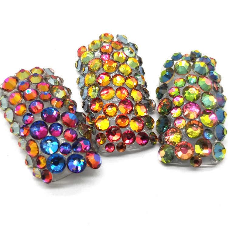 SS3-SS101440pcs Super Glitter Pipih Multicolor Non Hotfix Berlian Imitasi untuk Dekorasi Nail Art Sepatu dan Menari Dekorasi
