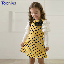 European Style Vestidos Mujer Kawaii Bow Girls Clothes Summer Princess Dress Long Sleeve Children Clothing Girl Party Dresses