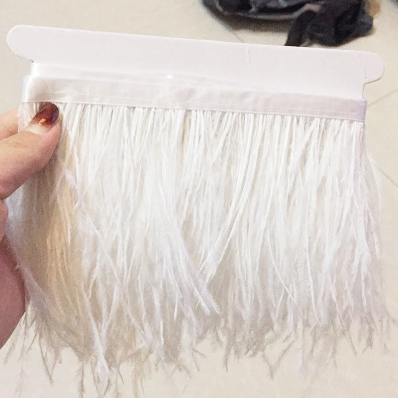 Image 2 - 5meters/10Meters Width 11 16cm Ostrich Feather Fringe Ribbon Trim  Cloth Skirt Lace DIY Party Wedding Dress Accessories CraftLace   -