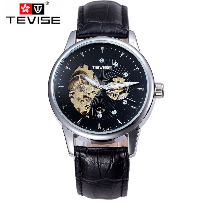 ФОТО Tevise Casual Relogios Masculino Men's Skeleton Watch Auto Mechanical Watches PU Leather Strap Gifts Box Free Ship