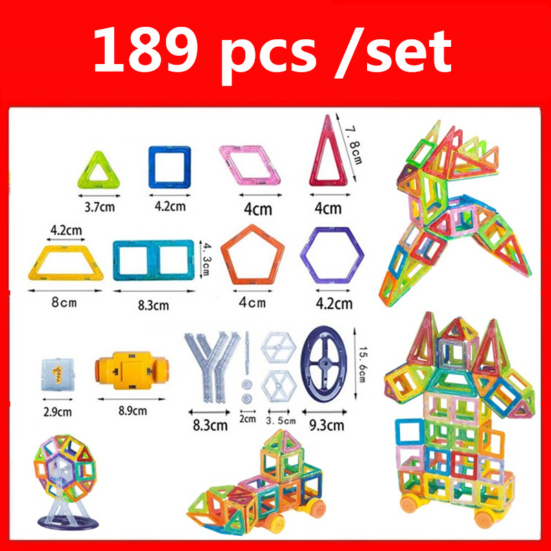 189pcs Mini Magnetic Designer Construction Set Model & Building Toy Plastic Magnetic Blocks Educational Toys For Kids Gift qwz new 110pcs mini magnetic designer construction set model
