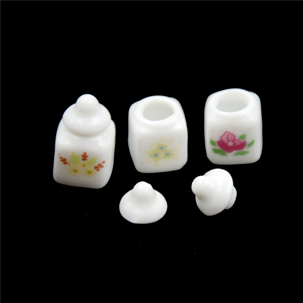 1Set Cute White Ceramic Storage Jars With Cover Dollhouse Miniature Kitchen Access Classic Pretend Play Furniture Toys For Child