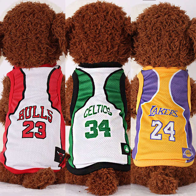 promo code 68f6e 5b450 Dogs Basketball Clothes Cool NBA Jersey Bulls Cavaliers Lakers Jersey Dogs  Sportswear Spring Summer Mesh Vest Pet Clothing