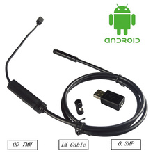 7MM 1M Mini Usb android Inspection endoscope Camera Underwater Endoscopio Tube snake Micro-cameras 6Led For Windows PC Android