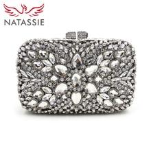 Natassie große diamant stein tasche luxus handtaschenfrauen-designer kristall kupplungen hochzeit clutch mit kette dame party geldbörse