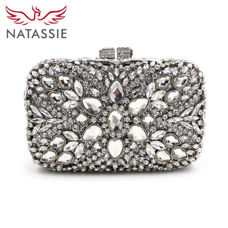Natassie grande piedra de diamante de lujo de las mujeres bolsos de tarde del di