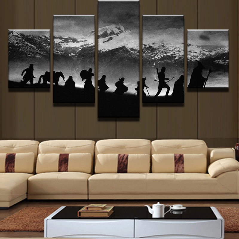 5 pieces snow capped mountains scenery modern home wall for Modern home decor pieces