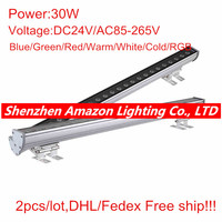 DHL Free shipping 2pcs DC24V/AC85 265V Outdoor 30W LED Wall Washer Lights Blue/Green/Red/Warm/Cold/RGB