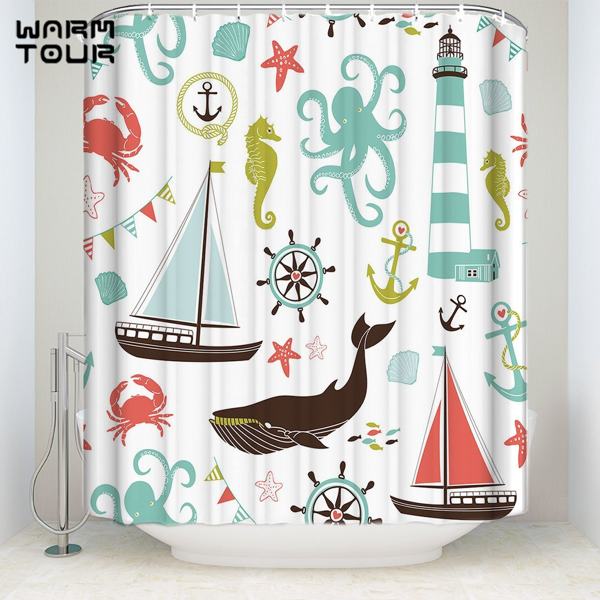 Bath Shower Curtains Beach Theme