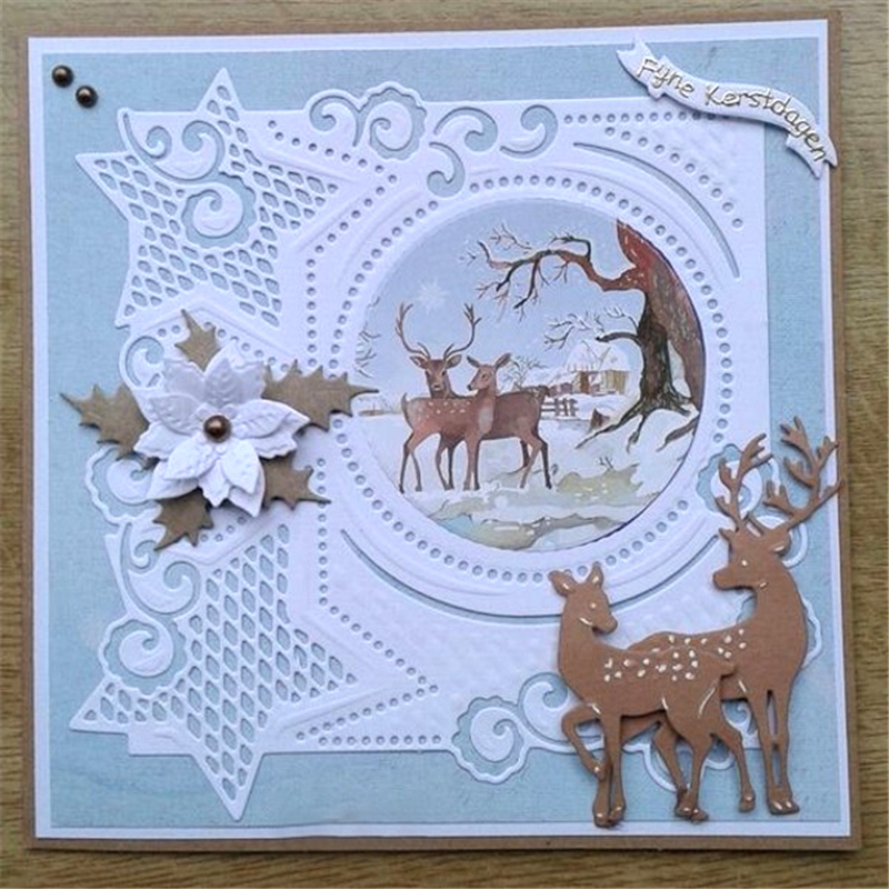GJCrafts Christmas Star Frame Dies Metal Cutting Dies New 2019 for Scrapbooking Card Making Cover Background Craft Die Cuts
