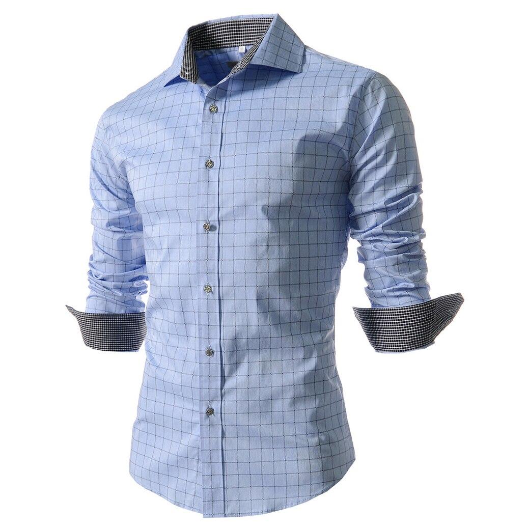 Мода печати плед сорочки для мужчин slim fit случайные рубашку с длинными рукавами горячий продавать голубой