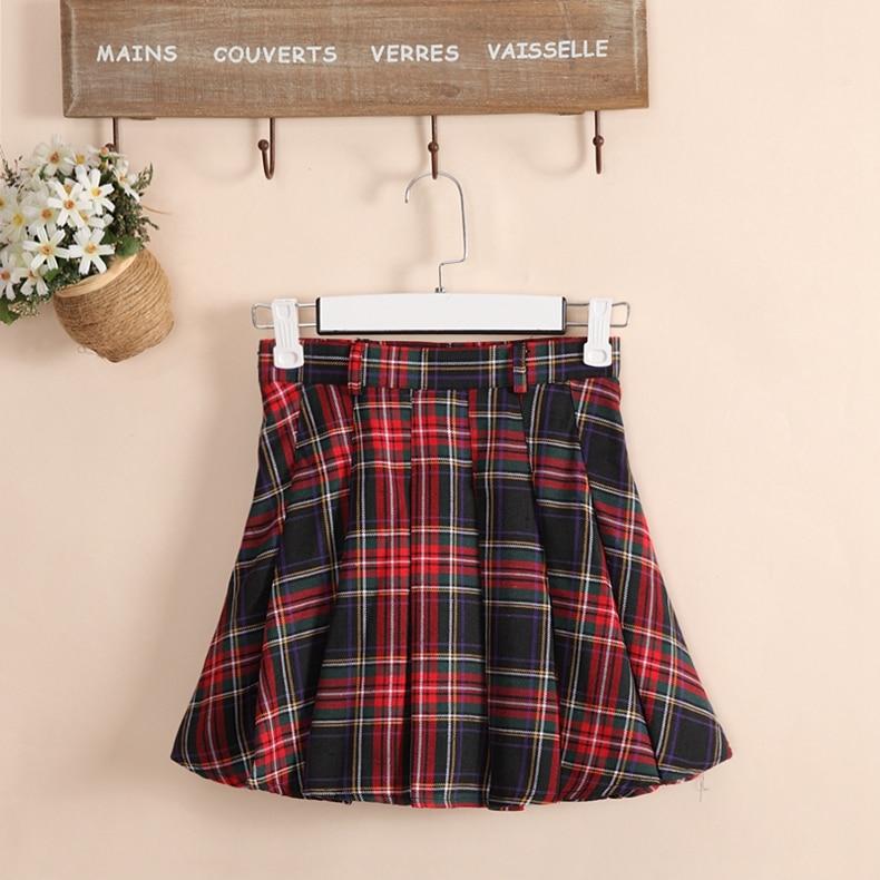 6 χρώματα Plaid ομοιόμορφη φούστες Κορέα μόδα Preppy Style Πτυσσόμενη φούστα Γυναίκες Red Plaid Φούστα Σχολή Ομοιόμορφη κορίτσια Short φούστες