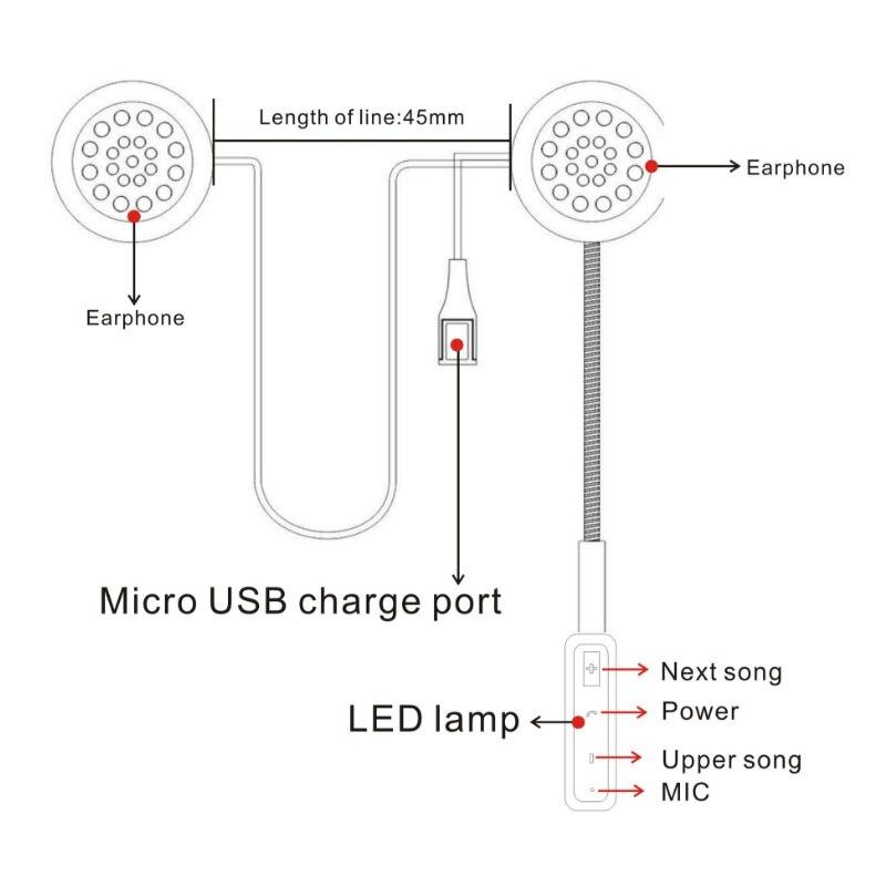 WUPP MH01 mootoriga juhtmeta Bluetooth-peakomplekti mootorratta - Mootorrataste tarvikud ja osad - Foto 5