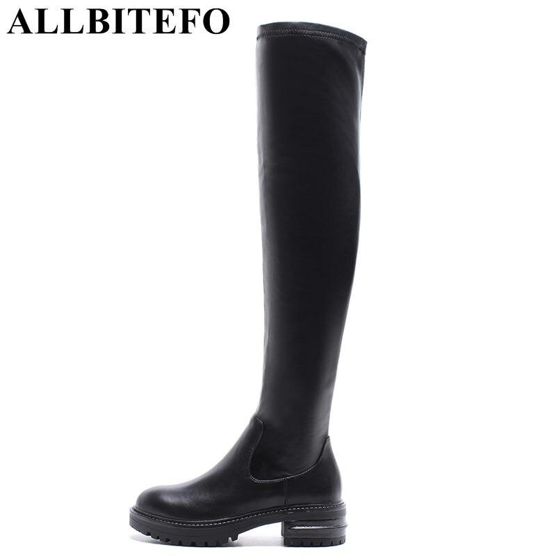 ALLBITEFO size:34-41 genuine leather+Stretch fabric women high heel shoes women boots winter boots botas femininas girls shoes женские блузки и рубашки hi holiday roupas femininas blusa blusas femininas
