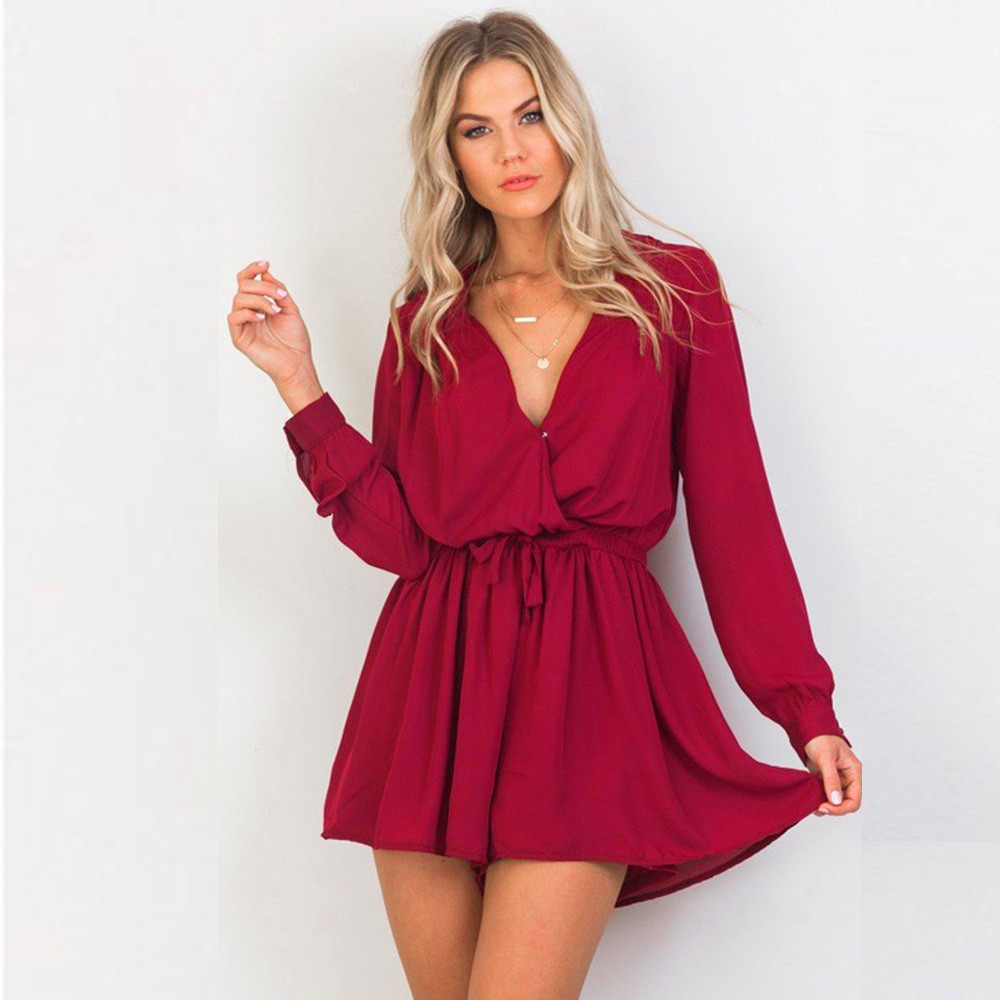 Adult Jumpsuit Women For Playsuits Sexy V-neck Long Sleeve Chiffon Playsuit Ladies Rompers