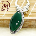 925 Sterling Silver Necklace Pendant Natural semi-precious stones green green chalcedony women jewelry jade girlfriend gift