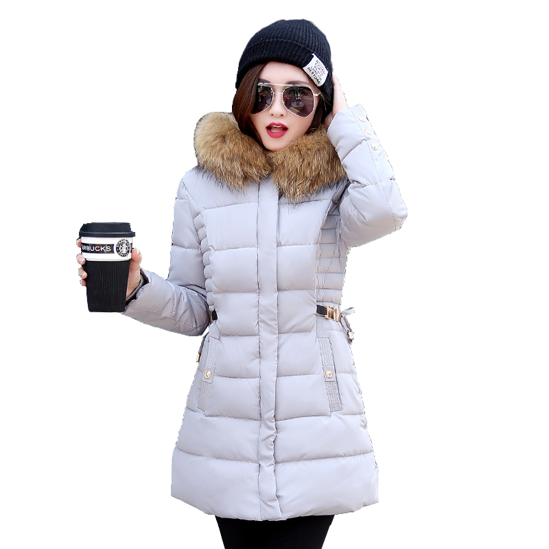 Winter Coat Women 2017 New Women Parkas Winter Long Style Fur collar Thickening Winter Jacket Cotton Warm Outwear  CC428 2017 winter new clothes to overcome the coat of women in the long reed rabbit hair fur fur coat fox raccoon fur collar